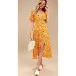 Lulus After Bloom Delight Floral Midi Dress S